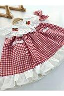 petekıds Kız Bebek Kırmızı Pötikareli Kiraz Detaylı Saç Bantlı Elbise