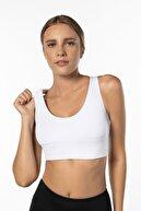 Lioness Activewear Beyaz Yüksek Destekli Sırt Detaylı Kaplı Spor Sütyeni