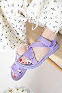 Straswans Kadın Lila Cırt Detay Günlük Sandalet
