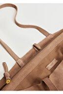 Mango Kadın Açık/Pastel Kahverengi Deri Shopper Çanta