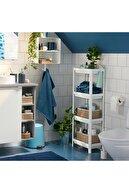Cetinshop Beyaz Mutfak Banyo Raf Ünitesi 4 Katlı Plastik Çiçeklik Köşe Rafı