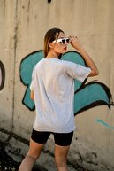 Black Sokak Kadın Gri Houston Logolu Oversize T-shirt