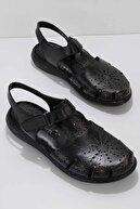 Bambi Siyah Hakiki Deri Kadın Sandalet K05907020503