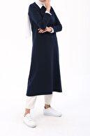 ALLDAY Kadın Indigo Nakışlı Renkli Düğmeli Elbise Tunik