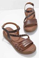 Bambi Kahve Hakiki Deri Kadın Sandalet K05684903603