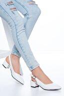 MaskButik Adesa Topuklu Cilt Ayakkabı Beyaz