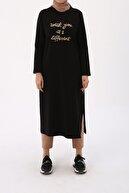 ALLDAY Kadın Siyah Nakışlı Düğmeli Elbise Tunik
