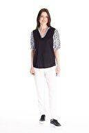 Stamina Kadın Siyah Hakım Yaka Kolları Yakası Desenli Bluz 4Vs2401