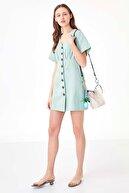 Twist Kadın Mint Yeşil Düğme Kapama Elbise TS1200002438013