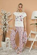 Strawberry Kadın Desenli Baskılı 5'Li Set Sabahlık-Pijama Takım