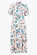 Marks & Spencer Kadın Pembe Çiçek Desenli Midi Gömlek Elbise T42008361