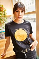 Olalook Kadın Siyah Moon T-shirt TSH-19000299
