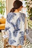 Olalook Kadın Lacivert Palmiye Güpür Detaylı Viskon Kimono CKT-19000080