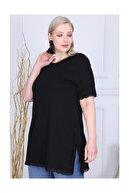 LİKRA Kadın Siyah Büyük Beden Yanları Yırtmaçlı Kolu Eteği Güpür Lı Viskon Tunik