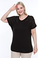 diaves Kadın Siyah Mineral Taş Dizayn Tasarım Bluz