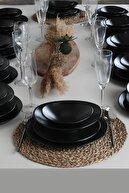 Keramika 12 Kişilik 48 Parça Oval Mat Siyah Yemek Takımı