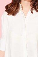 BARRELS AND OIL Kadın Beyaz Truvakar Kol Salaş Gömlek 412-20Y03004.55
