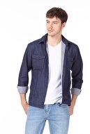 Ramsey Erkek Lacivert Düz Dokuma Uzun Kollu Gömlek RP10121736