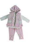 Mersevkids Kız Bebek Pembe Tavşanlı Üçlü Pofuduk Kıyafeti 0-12 Ay