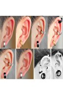 C & T Publishing C&t 4 Adet Paslanmaz Çelik Erkek Kadın Deliksiz Kulaklara Kıskaçlı Mıknatıslı Küpe - 4mm