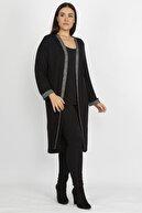 Şans Kadın Siyah Sim Detaylı Uzun Hırka 65N19839
