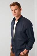 Buratti Erkek  Lacivert Pamuklu Düğmeli Yaka Uzun Kollu Oduncu Gömlek Cf21w112238