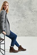 Yargıcı Kadın Gri Melanj Büzgü Detaylı Ceket 0KKCK5006A
