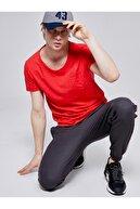 Ltb Erkek  Kırmızı  Kısa Kol Geniş Yaka T-Shirt 012208450660890000