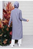 Setrms Kadın İndigo Çizgi Şerit Detaylı Düğmeli Tunik