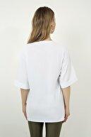 Vis a Vis Kadın Beyaz Bisiklet Yaka Nakışlı Oversize  T-Shirt STN878KTS117