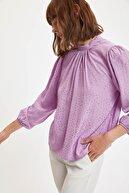 Defacto Kadın Mor Uzun Balon Kollu Dik Yaka Gömlek S7168AZ20AU