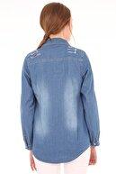 Bigdart 3628 Yırtıklı Çift Cepli Kot Gömlek