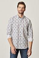 Altınyıldız Classics Tailored Slim Fit Düğmeli Yaka Baskılı Gömlek