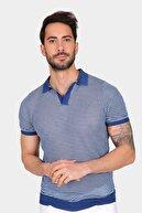 Ferraro Erkek Saks Çizgili Delikli Polo Yaka Düğmeli Triko T-Shirt