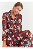 Suwen Kadın Bordo Elegance Maskulen Pijama Takımı