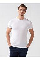 Mcr Erkek Beyaz Slimfit Arnürlü T-shirt