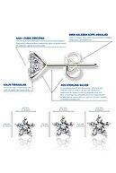 Jewelry For Light 3'lü Set 4mm,5mm,6mm Tektaş Yıldız Kesim Beyaz Taşlı Kübik Zirkon Pimli Gümüş Küpe