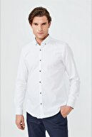 Avva Baskılı Düğmeli Yaka Slim Fit Garnili Gömlek