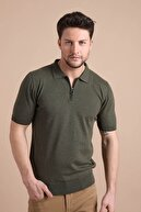 Ferraro Erkek Haki Polo Yaka Fermuarlı Pamuk Triko T-shirt