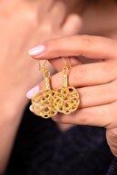 Sümer Telkari Kadın Aşk Düğümü Altın Yaldızlı Kazaziye El Sarması Gümüş Küpe 593