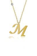 Demas Gold Kadın Pırlanta 14 Ayar Altın M Harfi Kolyelik