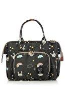 Lal Baby Kadın Siyah Baggage Bag Tavşan Desenli Omuz Askılı Anne Bebek Bakım Çantası