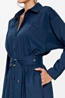 SOCIETA - Kemerli Gömlek Elbise 92874 Lacivert