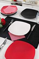Keramika Mix Mat Krem-Kırmızı-Siyah Köşem Pasta Tabağı 22 Cm 6 Adet