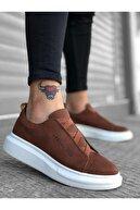 xramburada Xrm134 Boa Kalın Yüksek Taban Çapraz Bant Taba Beyaz Erkek Ayakkabı