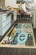 Colizon Dekoratif Yıkanabilir Kaymaz Tabanlı Mutfak Halısı