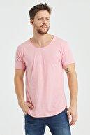 Tarz Cool Erkek Fuşya  Salaş T-shirt