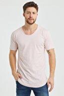 Tarz Cool Erkek Pembe Pis Yaka Salaş T-shirt