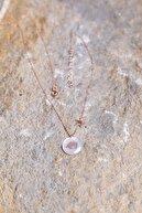 Ninova Silver Kadın Rose Kaplama Sedef Taşlı Boğa Burcu Gümüş Kolye