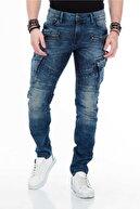 Cipo&Baxx Erkek Mavi Live Fast Motorcu Tarzı Kargo Jeans